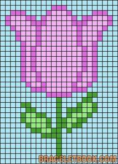 Tulip flower perler bead pattern