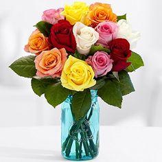 12 Vibrant Birthday Roses Bouquet – Flowers