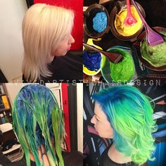 The process  Prelightened level 10✅ @pravana Vivids Blissful Blue, Yellow+Clear, Blissful Blue+Blue, Neon Green, Neon Green+Yellow+Blissful Blue+Clear✅ Shadow root, then color melt using my Chameleon Color Technique✅ Process for 30+ minutes✅ @shear_theory @hair_or_dye_salon #Rebeccataylorhair #chameleoncolor