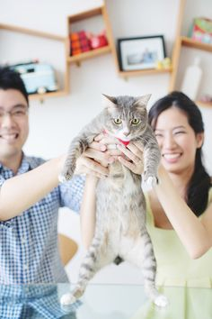 Engagement photo with a #cat or #pet. Engagement Shoot Inspiration: 15 Couple Poses You've Just Got To Try!