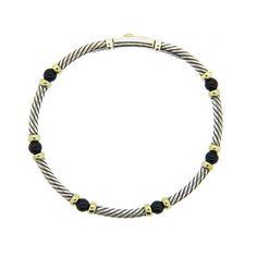 David Yurman 14K Gold Sterling Silver Onyx Station Cable Bracelet