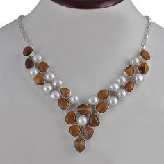 LATEST STYLE 925 STERLING SILVER FANCY TIGER EYE & PEARL NECKLACE 74.24g NK0054 #Handmade #NECKLACE