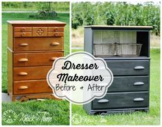 an Upcycled Dresser | Knick Of Time - love the opening and baskets!