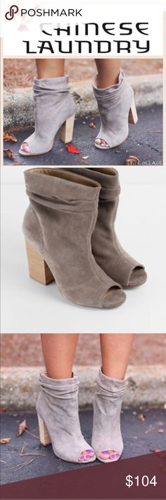 Chinese Laundry  peep toe booties This effortless bootie features a scrunched suede shaft with peep toe and easy to walk in 4inch stacked heels. Like new only worn once, small imperfection on the inside of the right shoe.   Ⓜ️Size 5.5 Ⓜ️No platform  Ⓜ️Heel 4inchs  Ⓜ️Shaft 5inches   ✅Bundle and save  ✅🚭 ‼️All reasonable offers will be considered‼️ 🚫No Trading 🙅🏻 Poshmark rules only‼️ Chinese Laundry Shoes Ankle Boots & Booties