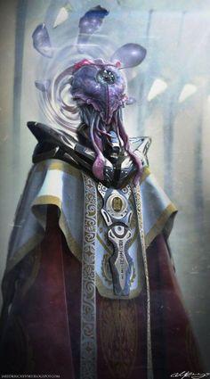 The high priest jellyhead by on deviantart alien queen, alien concept art, Alien Concept Art, Concept Art World, Alien Creatures, Fantasy Creatures, Alien Character, Character Art, Space Opera, Alien Design, Alien Races