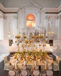 The dramatic heights and warm gold tones of@eddiezaratsian's 2017 Luxe Launch tabletop played off of the architecture and details of Vibiana's striking 45 foot altar wall backdrop. (Photography: @dukeimages / Venue Food and Beverage: @vibianaevents @nealfraser / Lighting: @highvoltagelighting / Furniture: @revelryleighc with @revelryeventdesign / China: @dishwishgirl / Pastries: @bottegalouie / Signage: @calligkatrina / Bridal Couture: @jinzabridal / Mens Formalwear: @menguintux / Bridesmaid…