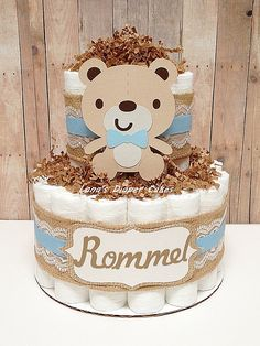 2 Tier Baby Bear Diaper Cake Boys Woodland Baby Shower