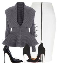 """Untitled #3952"" by stylistbyair ❤ liked on Polyvore featuring River Island, Christian Louboutin and Casadei"