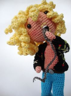 TOO FABULOUS FOR WORDS.  Robert Plant from Led Zeppelin  amigurumi version by actantedorado, $90.00