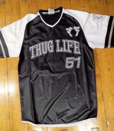 Thuglife Tupac Shakur Throwback Baseball Jersey Rhinestones Black Navy Red L 5b18c6874