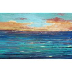 original seascape painting minimalist ocean sunset by derekcollins