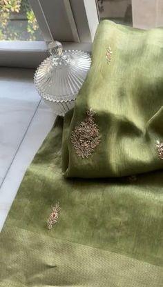 Organza Saree, Silk Sarees, Gota Patti Saree, Pastel Colors, Colours, Saree Embroidery Design, Saree Blouse Designs, Teen Fashion Outfits, Ethnic