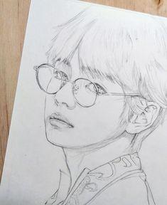 La imagen puede contener: dibujo Kpop Drawings, Art Drawings Sketches Simple, Pencil Art Drawings, Realistic Drawings, Cartoon Drawings, Taehyung Fanart, Korean Art, Drawing People, Art Sketchbook