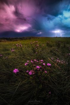 """Collision Course - Hanging out with a supercell in the Netherlands.  Making of article: <a href=""""https://iso.500px.com/chasing-lighting-landscape-photography-tutorial/"""">iso.500px.com/chasing-lighting-landscape-photography-tutorial</a>  ~ This is the same night as """"Outflow"""", just moments after sundown. The purple cloud is actually lit by the last rays of the sun, setting to the right of this image, while the front moved slowly away from here.  Thanks for taking the time with this one."""
