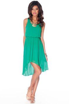 No Going Back Hi-Low Dress in Kelly Green :: tobi