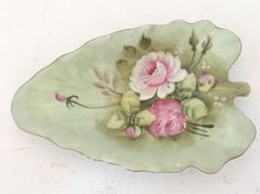 Lefton Heritage Green with Pink Roses Leaf-Shaped Candy/Nut Dish Nappy #1860i #Lefton #Na