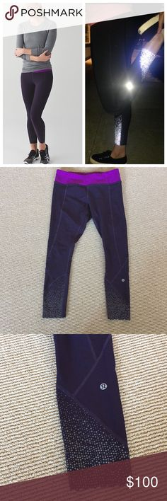 Lululemon tight stuff tights Like new black swan and tender violet tight stuff tights size 8. Reposhing because they weren't quite the right fit for me. Reflective detailing at bottom of legs. These are 7/8 length. lululemon athletica Pants Leggings