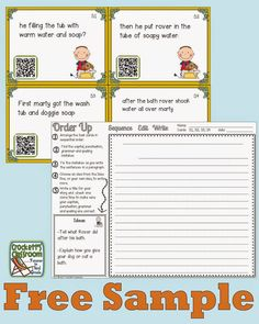 Sentences task cards, first students correct the spelling, punctuation and grammar errors and then they put the sentences in order to write a paragraph.---Crockett's Classroom Forever in Third Grade