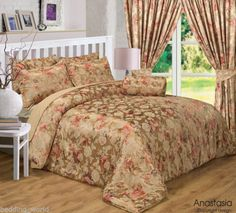 ANASTASIA GOLD FLORAL JACQUARD TERRACOTTA MINK TAN LUXURIOUS BEDDING OR CURTAINS