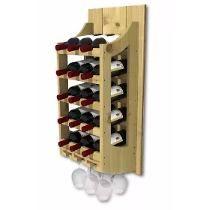 Adega De Madeira Para Vinhos 15 Garrafas E 6 Taças Branca