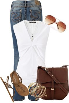 A fashion look from April 2013 featuring Strenesse blouses, Silver Jeans Co. jeans and Billabong sandals. Browse and shop related looks. Fashion Mode, Look Fashion, Womens Fashion, Ad Fashion, Mode Outfits, Casual Outfits, Fashion Outfits, Mode Style, Style Me