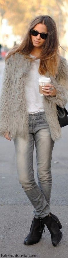 Grey faux fur coat, white T-shirt, faded skinny jeans, black booties & shoulder bag