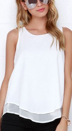 White Sleeveless Split Back Tank Top