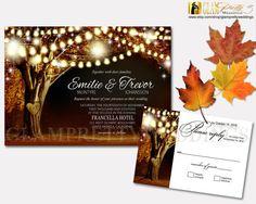 Golden Leaves Autumn Wedding Invitation & RSVP card Rustic String Lights Oak Tree Names Carved in Tree - PRINTABLE File - Style Name: VIVIAN