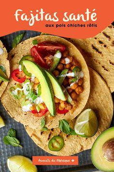 Essayez notre recette de Fajitas aux pois chiches rôtis, parfait pour un lunch santé! Tortillas, Parfait, Tacos, Gluten Free, Keto, Lunch, Ethnic Recipes, Foodies, Recipes