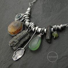 Amber green & black tourmaline nephrite emerald by studioformood