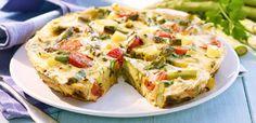 Rezept Frittata von gruenem Spargel Kartoffeln Petersilie Rosmarin und Kirschtomaten