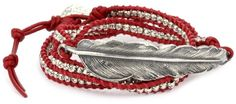 M.Cohen Handmade Designs Silver Feather and Silver Beads On Red Triple Wrap Bracelet M.Cohen Handmade Designs http://smile.amazon.com/dp/B0054DY9AA/ref=cm_sw_r_pi_dp_xAyevb1K3SS4C