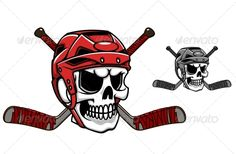 Buy Skull in Ice Hockey Helmet by VectorTradition on GraphicRiver. Skull in ice hockey helmet with crossed sticks. Editable (you can use any of your vector program) and JPEG (can . Hockey Helmet, Hockey Puck, Hockey Mom, Ice Hockey, Goalie Mask, Chicago Blackhawks, Cartoon Styles, Drawing, Cartoon Characters