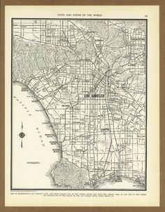 Vintage map of Los Angeles from 1936 Antique 1930s placesintimemaps