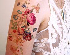 tatouage temporaire Fleurs Coquelicots Vintage par pepperink