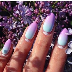 Beautiful nails, Color transition nails, Gradient nails 2016, Ombre nails, Original moon nails, Original nails, Oval nails, overflow nails