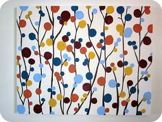 Diy wall Art    Dots/ stick flowers