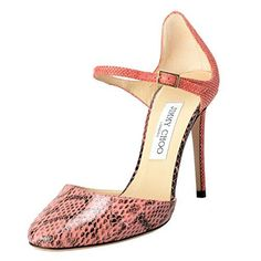 1aad68b57a1 Jimmy Choo Women s Snake Skin Coral Pink Ankle Strap High Heel Mary Jane  Pumps