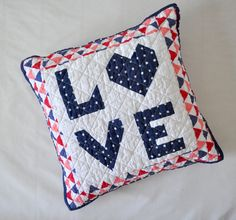 Items similar to Love pillow, quilted pillow on Etsy Red And Pink, Pink White, Quilted Pillow, Pillow Forms, Beautiful One, Decorative Pillows, Cotton Fabric, Great Gifts, My Etsy Shop