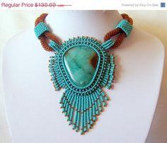 SUMMER SALE Bead Embroidery Necklace Pendant Beadwork by lutita, $117.00