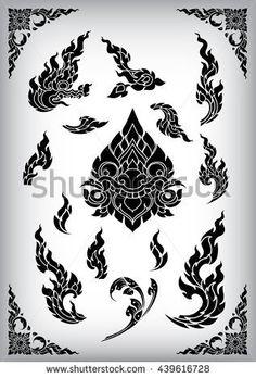 Set of Thai art element Ethnic Art vector