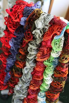 knit ruffle scarves, I have done over 30 for gifts and charity