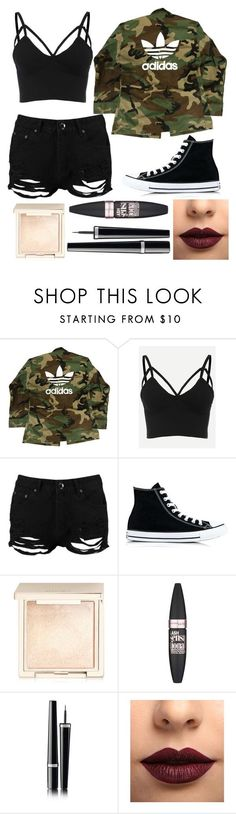 """Outfit #39"" by unicornicamitha on Polyvore featuring adidas, Boohoo, Converse, Jouer, Maybelline, Chanel and LASplash"