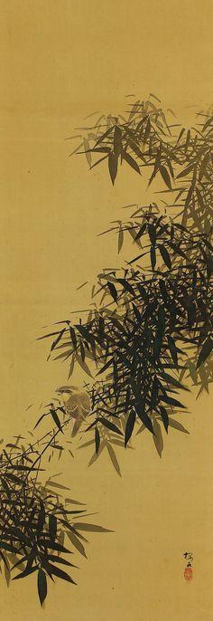 Sparrow and Bamboo by Konoshima Okoku(1877-1938).