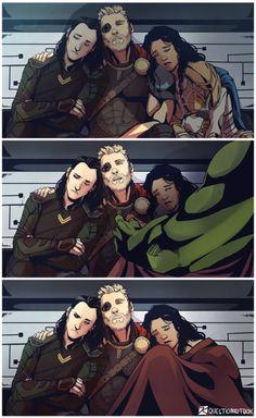 "Loki wakes up in the end and is like ""Excuse me, I am a Prince!"" Also, does anyone else ship Valkyrie and Loki. Loki Thor, Loki Laufeyson, Loki Marvel, Marvel Heroes, Marvel Comics, Heros Comics, Memes Marvel, Marvel Funny, The Avengers"