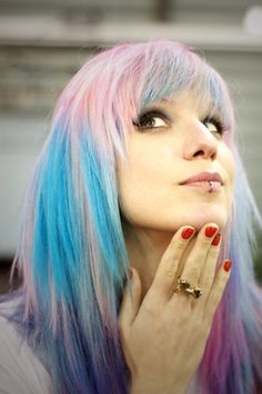 colorful hair   cotton candy pink and blue
