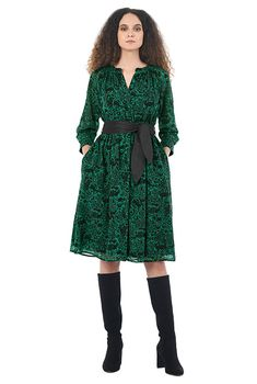 I <3 this Forest print split neck georgette shift dress from eShakti