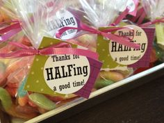 """Half Birthday party favors: """"Thanks for half'ing a good time"""" Happy Half Birthday, Half Birthday Cakes, Birthday Treats, Birthday Party Favors, 2nd Birthday Parties, Baby Birthday, Fifty Birthday, Birthday Decorations, Birthday Pictures"""