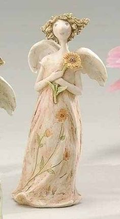 "$56.99-$69.99 From the Angel Blossoms Collection Item #41990 Birth month ""October"" angel is holding a marigold flower stem Free standing Dimensions: 4""H x 2""W x 1.5""D  Material(s): resin/stone mix Pack includes 10 of the figure shown"