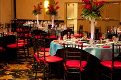 Tiffany blue and red wedding. The chairs and tables for outdoor. Not the centerpieces.
